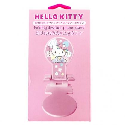小禮堂 Hello Kitty 直立式折疊手機架 升降手機架 手機支架 平板架 (粉 和服)