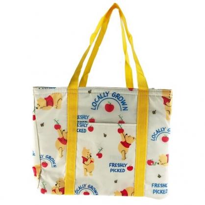 小禮堂 迪士尼 小熊維尼 橫式尼龍束口保冷側背袋 環保購物袋 野餐袋 (黃 滿版)