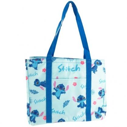 小禮堂 迪士尼 史迪奇 橫式尼龍束口保冷側背袋 環保購物袋 野餐袋 (藍 滿版)