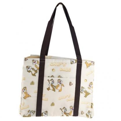 小禮堂 迪士尼 奇奇蒂蒂 橫式尼龍束口保冷側背袋 環保購物袋 野餐袋 (棕 滿版)