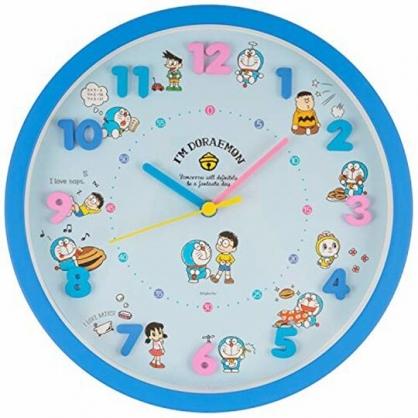 小禮堂 哆啦A夢 連續秒針圓形壁掛鐘 時鐘 壁鐘 圓鐘 (藍 立體數字)