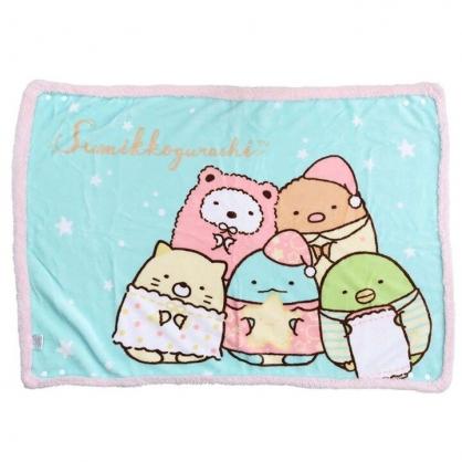 小禮堂 角落生物 圓角毛毯披肩 單人毯 薄毯 蓋毯 70x100cm (綠 睡衣)
