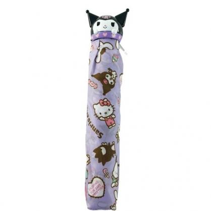 小禮堂 酷洛米 造型柄折疊雨傘 三折雨傘 折疊傘 雨具 (紫 滿版)
