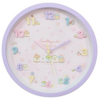 小禮堂 角落生物 連續秒針圓形壁掛鐘 時鐘 壁鐘 圓鐘 (紫 立體數字)