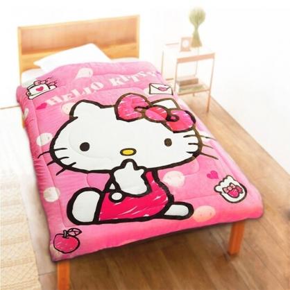 小禮堂 Hello Kitty 法蘭絨毯被 單人毯被 厚毯被 墊被 保暖被 5x6.5尺 (粉 側坐)