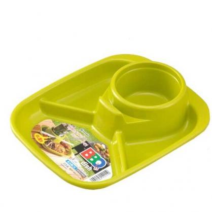 小禮堂 Inomata 日製 方形四格塑膠餐盤 食物菜盤 飲料杯盤 托盤 (綠)