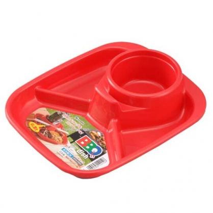 小禮堂 Inomata 日製 方形四格塑膠餐盤 食物菜盤 飲料杯盤 托盤 (紅)