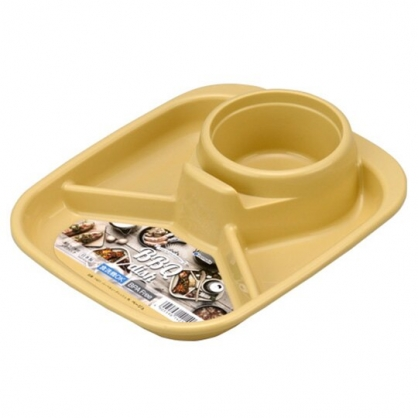 小禮堂 Inomata 日製 方形四格塑膠餐盤 食物菜盤 飲料杯盤 托盤 (黃)