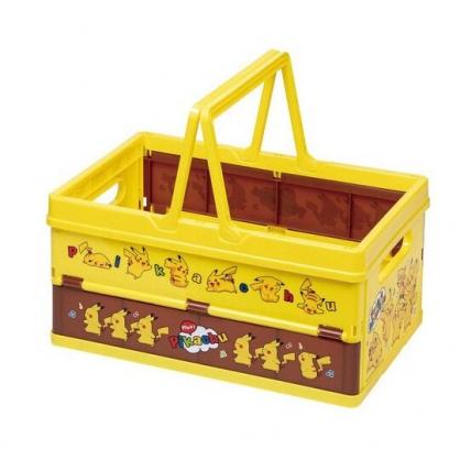 小禮堂 神奇寶貝 方形塑膠折疊收納提籃 購物提籃 衣物籃 玩具籃 (黃 音符)