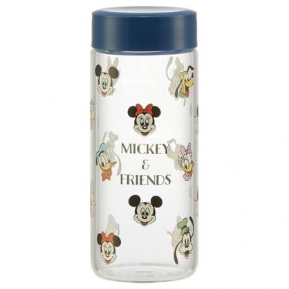 小禮堂 迪士尼 迷你隨身玻璃瓶 冷水瓶 兒童水壺 250ml (藍蓋 滿版)