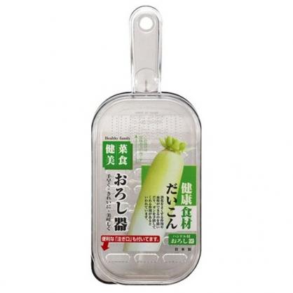 小禮堂 Sanada 日製 方形透明蘿蔔研磨器 副食品研磨器 磨泥器 (灰)