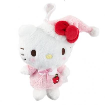 小禮堂 Hello Kitty 絨毛吊飾 玩偶吊飾 玩偶鑰匙圈 包包吊飾 (粉 睡帽)