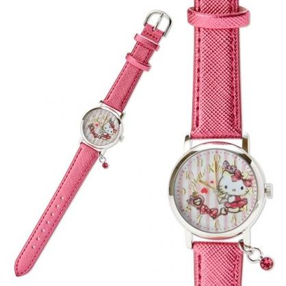 小禮堂 Hello Kitty 皮質錶帶腕錶手錶 皮質手錶 休閒錶 淑女錶 (桃 信封)