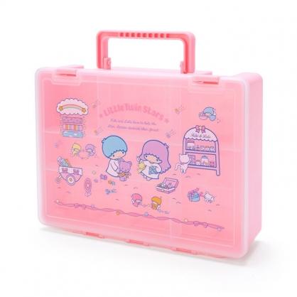 小禮堂 雙子星 方形塑膠手提工具箱 藥箱 針線箱 收納提箱 (粉 手工藝)