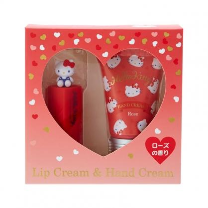 小禮堂 Hello Kitty 造型護唇膏護手霜組 保養禮盒 護手乳 潤唇膏 玫瑰香 (紅)