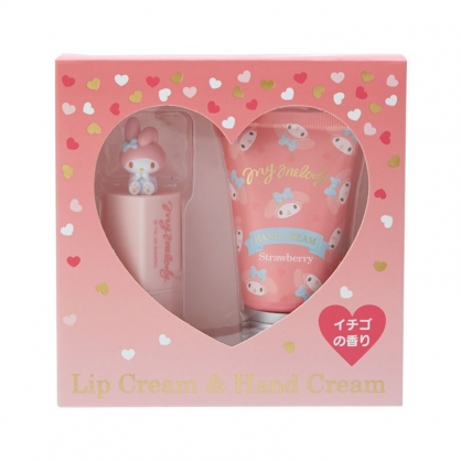 小禮堂 美樂蒂 造型護唇膏護手霜組 保養禮盒 護手乳 潤唇膏 草莓香 (粉)