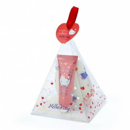 小禮堂 Hello Kitty 條狀保濕護手霜方巾組 護手乳 手帕 水果香 三角盒裝 (紅)