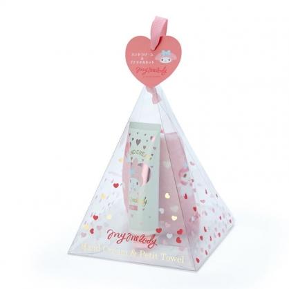 小禮堂 美樂蒂 條狀保濕護手霜方巾組 護手乳 手帕 百合香 三角盒裝 (粉)