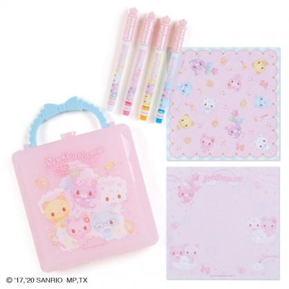 小禮堂 甜夢貓 造型變色筆便條紙組 附手提盒 彩色筆 便條本 收納盒 (粉藍)