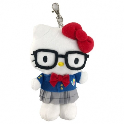 小禮堂 Hello Kitty 絨毛吊飾 玩偶吊飾 玩偶鑰匙圈 包包吊飾 (藍灰制服)