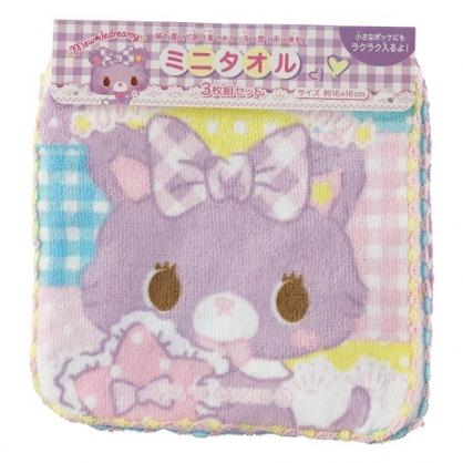 小禮堂 甜夢貓 純棉割絨方巾組 手帕 小毛巾 16x16cm (3入 紫 格紋)