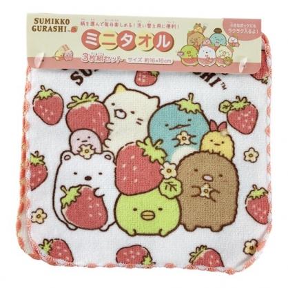 小禮堂 角落生物 純棉割絨方巾組 手帕 小毛巾 16x16cm (3入 紅 草莓)