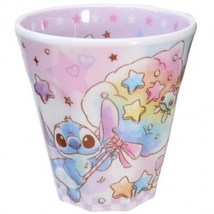 小禮堂 迪士尼 史迪奇 無把美耐皿杯 塑膠杯 兒童水杯 270ml (紫 糖果)