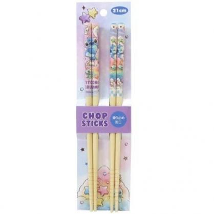 小禮堂 迪士尼 史迪奇 木筷組 竹筷 環保筷 21cm (2入 紫藍 糖果)