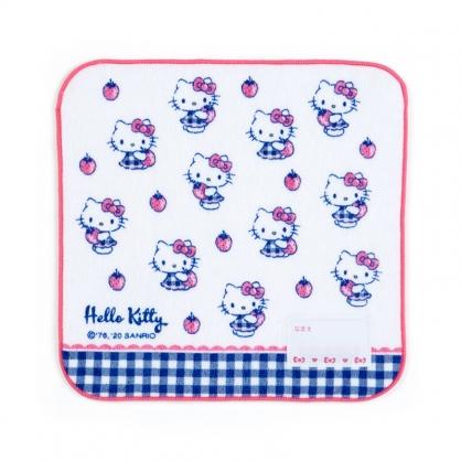 小禮堂 Hello Kitty 純棉割絨方巾 手帕 小毛巾 20x20cm (紅藍 草莓)