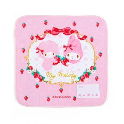 小禮堂 美樂蒂 純棉割絨方巾 手帕 小毛巾 20x20cm (粉紅 草莓)