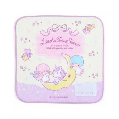 小禮堂 雙子星 純棉割絨方巾 手帕 小毛巾 20x20cm (紫黃 獨角獸)