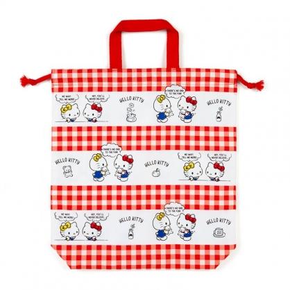 小禮堂 Hello Kitty 日製 棉質束口手提袋 束口鞋袋 水桶包 縮口袋 (紅白 格紋)
