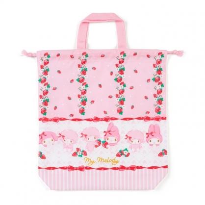 小禮堂 美樂蒂 日製 棉質束口手提袋 束口鞋袋 水桶包 縮口袋 (粉紅 草莓)