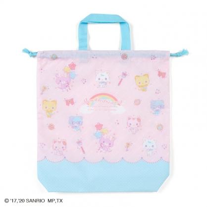 小禮堂 甜夢貓 日製 棉質束口手提袋 束口鞋袋 水桶包 縮口袋 (粉藍 彩虹)