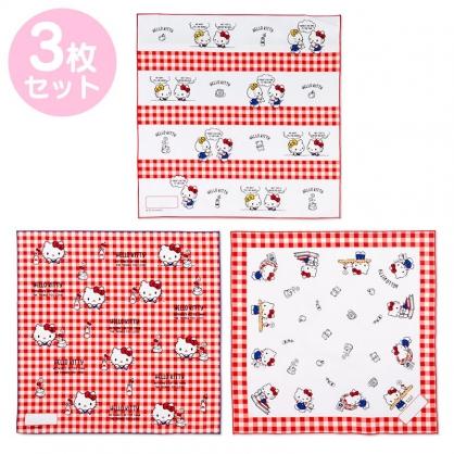 小禮堂 Hello Kitty 日製 純棉紗布便當包巾組 餐巾 手帕 桌巾 桌墊 43x43cm (3入 紅白 格紋)