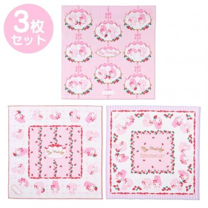 小禮堂 美樂蒂 日製 純棉紗布便當包巾組 餐巾 手帕 桌巾 桌墊 43x43cm (3入粉紅 草莓)