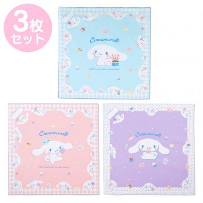 小禮堂 大耳狗 日製 純棉紗布便當包巾組 餐巾 手帕 桌巾 桌墊 43x43cm (3入 藍白 甜點)