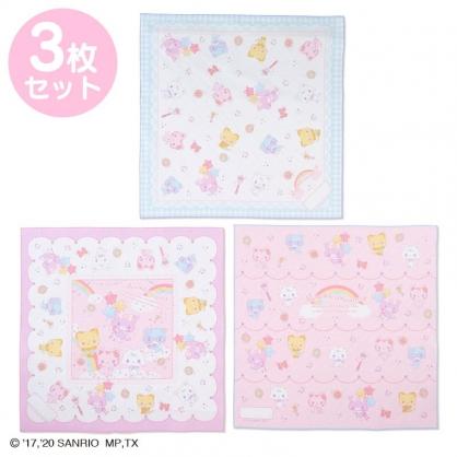 小禮堂 甜夢貓 日製 純棉紗布便當包巾組 餐巾 手帕 桌巾 桌墊 43x43cm (3入 粉紫 彩虹)