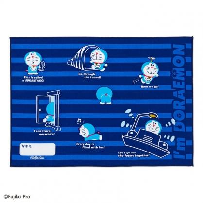 小禮堂 哆啦A夢 日製 純棉紗布便當包巾 餐巾 手帕 桌巾 桌墊 25x35cm (深藍 橫紋)