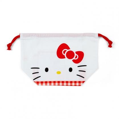 小禮堂 Hello Kitty 日製 棉質束口便當袋 束口手提袋 小物袋 縮口袋 (紅白 大臉)