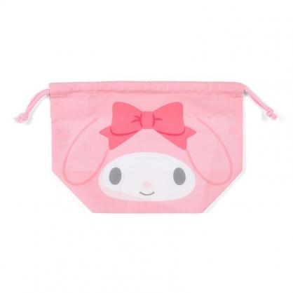 小禮堂 美樂蒂 日製 棉質束口便當袋 束口手提袋 小物袋 縮口袋 (粉白 大臉)