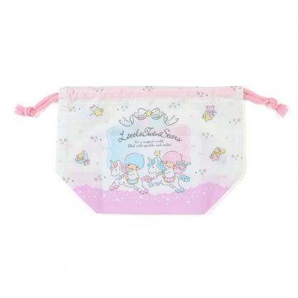 小禮堂 雙子星 日製 棉質束口便當袋 束口手提袋 小物袋 縮口袋 (紫白 獨角獸)