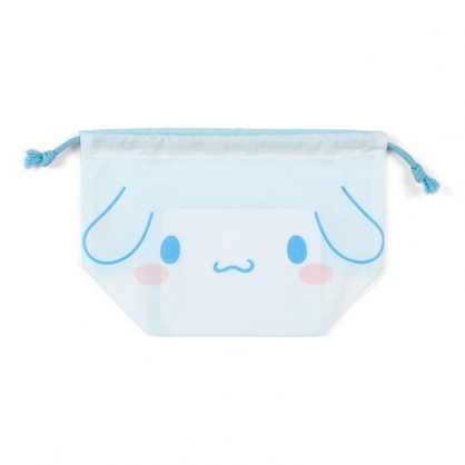 小禮堂 大耳狗 日製 棉質束口便當袋 束口手提袋 小物袋 縮口袋 (藍白 大臉)