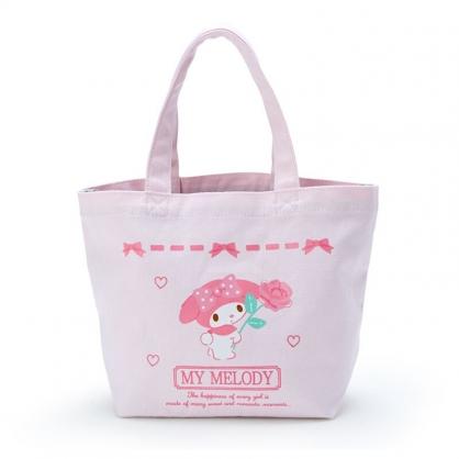 小禮堂 美樂蒂 帆布保冷便當袋 保冷提袋 野餐袋 手提袋 (粉 玫瑰)
