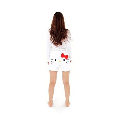 小禮堂 Hello Kitty 造型鬆緊絨毛短褲 抽繩短褲 睡褲 毛毛褲 (白 大臉)