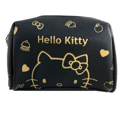 小禮堂 Hello Kitty 三角皮質化妝包 皮質收納包 腕繩化妝包 小物包 (黑壓紋)