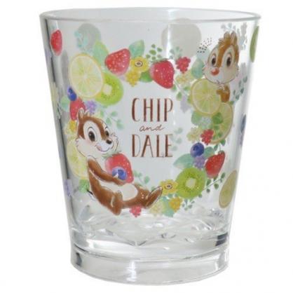 小禮堂 迪士尼 奇奇蒂蒂 無把塑膠杯 透明杯 壓克力杯 兒童水杯 280ml (黃棕 水果)