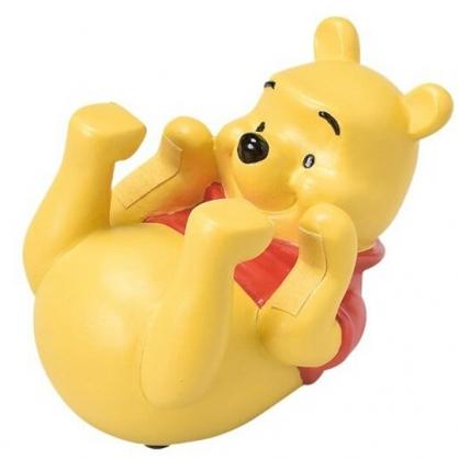 小禮堂 迪士尼 小熊維尼 造型陶瓷手機架 手機立架 手機座 平板架 (黃 仰躺)