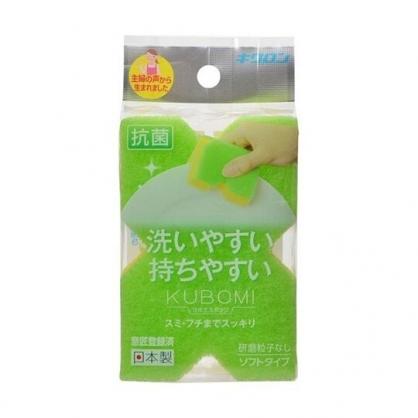 小禮堂 KIKULON 日製 X造型清潔海綿 鍋邊刷 菜瓜布 鍋刷 洗碗刷 (綠)