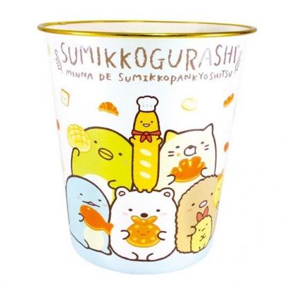 小禮堂 角落生物 圓形無蓋垃圾桶 塑膠垃圾桶 圓垃圾桶 收納桶 (藍白 麵包)